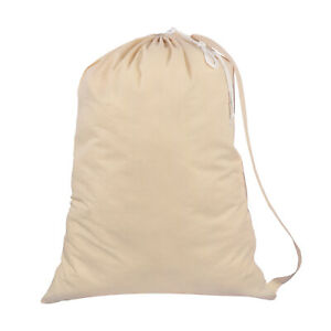 Shoulder Straps Cotton Laundry Bags Natural - Drawstring with cord-lock 75x56 CM