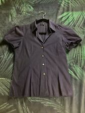 ffc3c6e65319a THEORY Dark Purple Women s Fitted Short Sleeve Button Down Shirt Blouse S