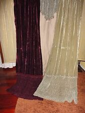 JCP PENNEY BOHEMIAN BOHO VELVET WINE GREEN RUCHED BEADED (3PC) PANELS & VALANCE