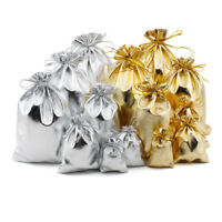 20 pcs Drawstring Gift Bags Jewelry Wedding Party Favor Gold & Silver Pouches
