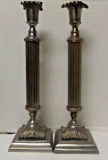 12 1/2 inch talll Silver Candlestick Holders pair