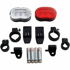 2 PIECE BICYCLE LIGHT SET FRONT AND REAR WITH MOUNTING BRACKETS AND BATTERIES