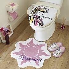 Disney Rapunzel Toiletry Bathroom Set Cover, Matt, Slippers, Paper Holder