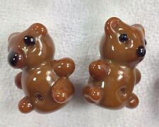 5 Handmade Lampwork Glass Brown Teddy Bear Beads Novelty Bead Shape