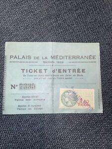 1929 Palais De La Mediterranee Ticket Entree TIMBRE FISCAL Stamp