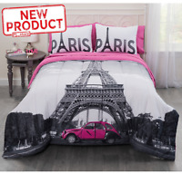 Full Size Bedding Complete Set W/ Bag Home Bedroom Paris Eiffel Tower Design NEW