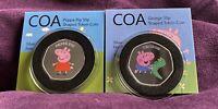 Peppa Pig 50p Shaped Coin Medal Bu Proof Like With COA