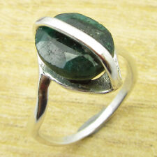 Green Cut Gemset Ring Size 9.5 New Simulated Emerald 925 Silver Plated Jewelry |