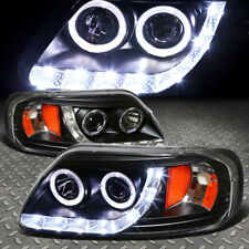 [LED DRL+HALO]FOR 97-04 FORD F150 BLACK/AMBER CORNER PROJECTOR HEADLIGHT LAMPS