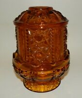 Vintage Indiana Glass Amber Stars & Bars Candle Holder Fairy Lamp