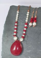 Red Agate Pendant, White Freshwater Pearls & Coral Necklace & Earring Set