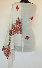 Wool Shawl Crewel Embroidered with Colorful Leaves Kashmir Embroidery on White