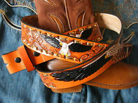 """MENS Tan Leather Belt Western Cowboy USA  Eagle Embossed SIZES  32"""" 36"""" TO 52"""""""