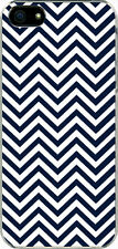 Chevron Navy Blue Designed iPhone 5 White TPU Case Cover