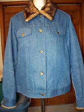 Dennis Basso Denim Blue Jean Jacket Quilted Lining Faux Fur Collar/Cuff Sz Large