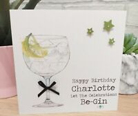 Personalised Female Male Gin Birthday Card Best Friend Sister Auntie ANY AGE