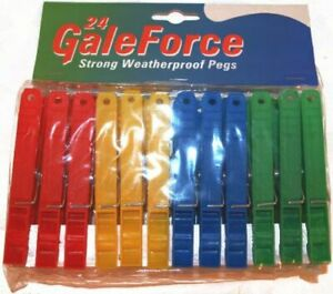 SHM 24 Gale Force Strong Weatherproof Plastic Cleaning Laundry Clothes Pegs New