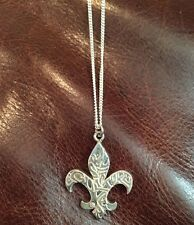 Quiksilver 925 Silver Fleur De Lis Chain Necklace Pendant - Quik Japan VERY RARE