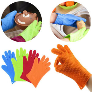 Pair of BBQ Gloves Heat Resistant Silicone Gloves Kitchen  Oven Cooking Mitts UK