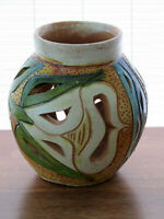 Studio Hand Crafted Multi Color Contemporary Art Pottery Cut Out Vase