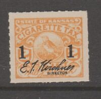 Kansas tax revenue cinderella fiscal stamp 4-10  - mnh gum  Overprint 1 on 2