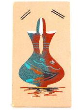 "Southwest  Sandart  Wedding Vase-Chuharello 5"" X  9""-Turquiose/ Rust Color"