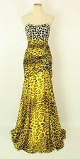 Size 0 Tony Bowls $500 Mermaid Beads Yellow Animal Long Gown Formal Prom NEW