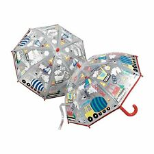 Floss & Rock Construction Bright Colour Changing Clear Boys Kids Umbrella Brolly