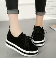Womens Korean Lace Up Round Toe Platform Sneakers Casual Creepers Sport Shoes