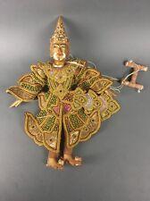 Vintage Indonesian Wayang Golek Gilt Wood String Marionette Puppet Buddha