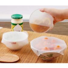 4pcs Food Fresh Silicone Kitchen Tool Gadgets Plastic Wrap Vacuum Reusable Set