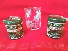 Yankee Candle Balsam & Cedar Votives 3 pc SET & Glass Holder Retired Scent NEW