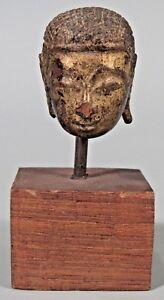 Fine Thailand Thai Carved Gilt Wood Head of the Buddha ca. 18-19th century