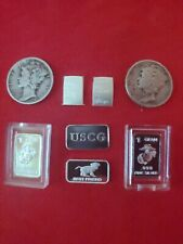 Lot of .999 Fine Silver Bars And 1940, '45 Silver Liberty Coin Mint Usmc Cg