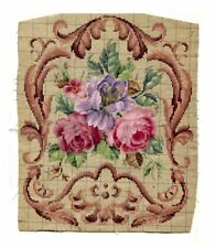ANTIQUE ORIGINAL BERLIN WOOLWORK HAND PAINTED CHART PATTERN FLORAL W IRIS & BORD