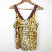 Anthropologie Tiny Womens M Medium Tank Top Mixed Print Sequins Yellow Pink B33