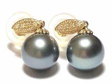 Genuine 14K Gold 10.8mm Tahitian Sea Round Pearl Dangle Vintage Diamond Earrings