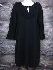 BCBG Paris Sweater Dress Ruffle Sleeve Black Size Large  L Party LBD Detailed