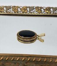 VINTAGE TRIFARI GOLD TONE AND BLACK STONE PIN PENDANT