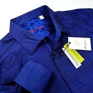 Robert Graham Geometric Print Egyptian Cotton XL Navy Blue Paisley Shirt $199