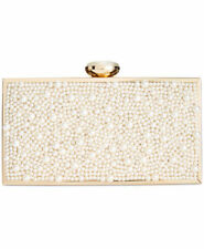New INC International Concepts Lyvia Imitation Pearl Frame Clutch IvoryGold $109
