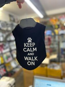 DARKSIDE CLOTHING Keep Calm & Walk On dog/puppy t-shirt/top/vest/coat SMALL