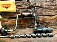 """Millers Falls  772   10"""" Hand Brace W/ 1"""" x18"""" New Ships Auger Bit  Exc. Cond."""