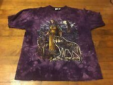 Xl Men Alternative Apparel Wolf Short Sleeve Crewneck T-Shirt Purple Cotton Euc