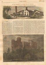 Baton Rouge, LA. Mississippi River, Sugar House, 2pg 1871 Antique Art Print