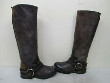 Steven Madden Judgemnt Distressed Leather Harness Knee High Boots Womens Sz 7.5