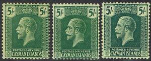 CAYMAN ISLANDS 1921 KGV 5/- 3 SHADES WMK MULTI CROWN CA