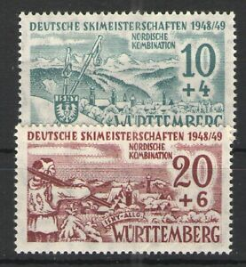 Germany - French Occupation Wurttemberg 1949 Sc# 8NB5-6 MH VG/F - Skiing