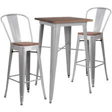 "23.5"" Silver Metal Bar Height Restaurant Table Set Walnut Wood Top & 2 Barstool"