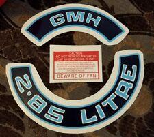 Holden Engine Bay Dress Up Kit Sticker blue 2.85 Litre Air Filter GMH